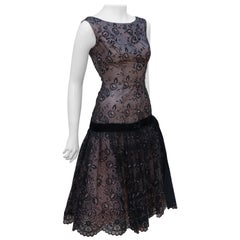 Black Flocked Velvet Nude Illusion Party Dress, 1950's