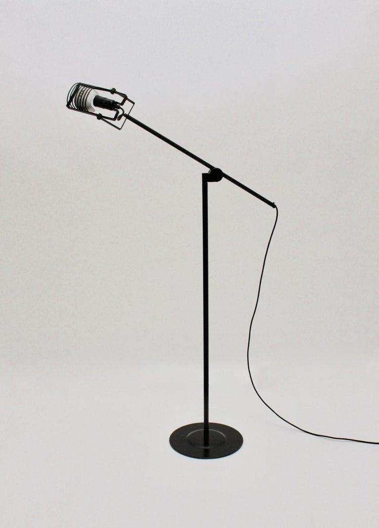 Italian Black Floor Lamp by Ernesto Gismondi 1970 for Artemide Italy Metal, Plastic For Sale