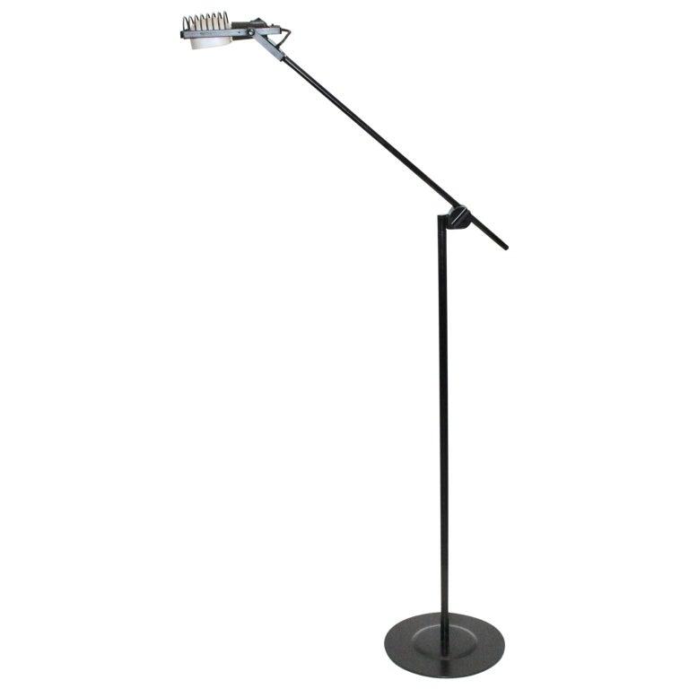 Black Floor Lamp by Ernesto Gismondi 1970 for Artemide Italy Metal, Plastic For Sale