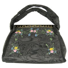 "Black Floral ""bags of tomorrow"" New In Box HandBag Purse 1939 Hand Painted"