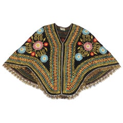 Black Floral Embroidered Bohemian Cape, 1970's