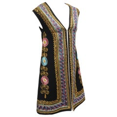 Black Floral Embroidered Bohemian Tunic Vest, 1970's