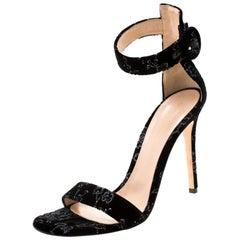 Black Floral Embroidered Velvet Portofino Ankle Strap Sandals Size 40