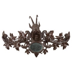 Black Forest 1900s Carved Wooden Plaque with Chamois Motif, Foliage and Mirror