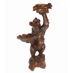 Black Forest Bear Form Carved Walnut Dumbwaiter