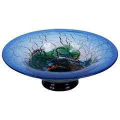 Black Forest Blue, Green and Orange Glass Decorative Bowl, German, Vintage 1960s