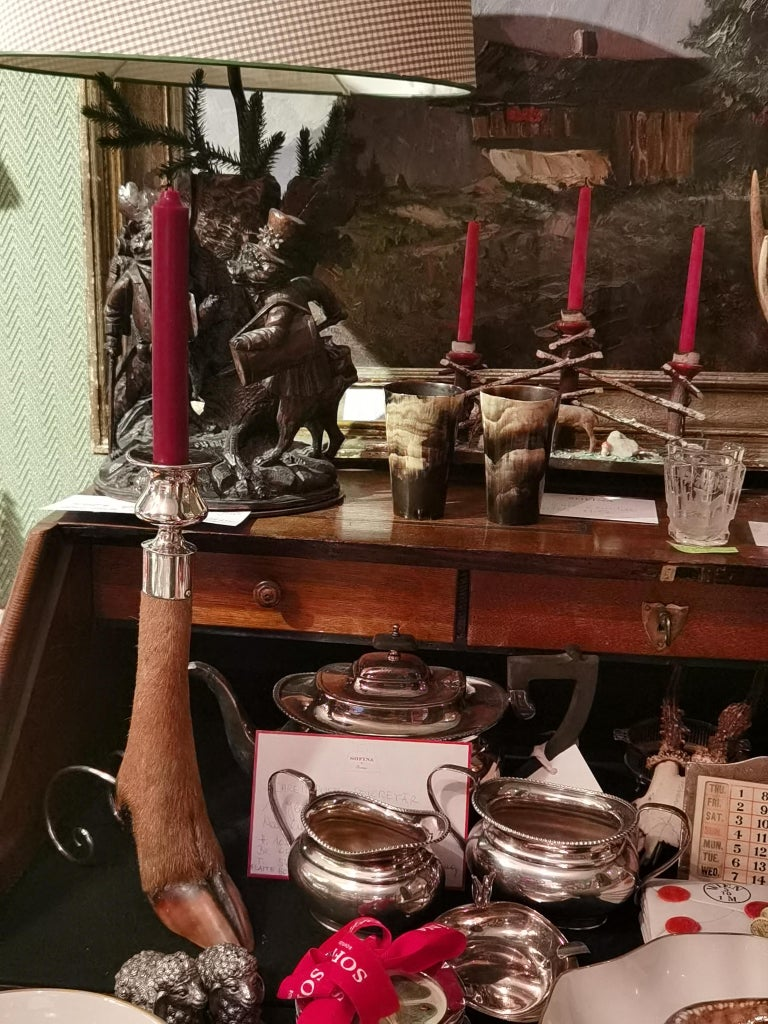 Black Forest Candleholder Silver with Deer Foot For Sale 1