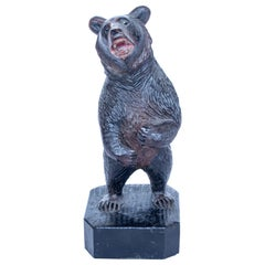 Black Forest Upright Carved Bear with Original Glass Eyes, Swiss Circa, 1890