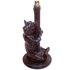 Black Forest Carved Bear Lamp