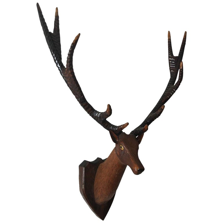 Black Forest Carved Deer or Stag Head and Antlers on Plaque, Germany, 1900