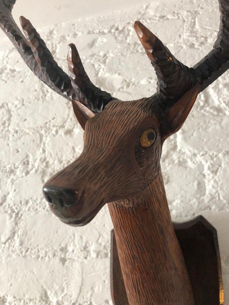 Black Forest Carved Deer or Stag Head and Antlers on Plaque, Germany, 1900 In Good Condition In Richmond, Surrey