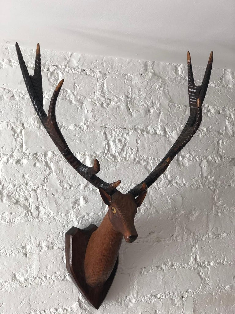 Early 20th Century Black Forest Carved Deer or Stag Head and Antlers on Plaque, Germany, 1900