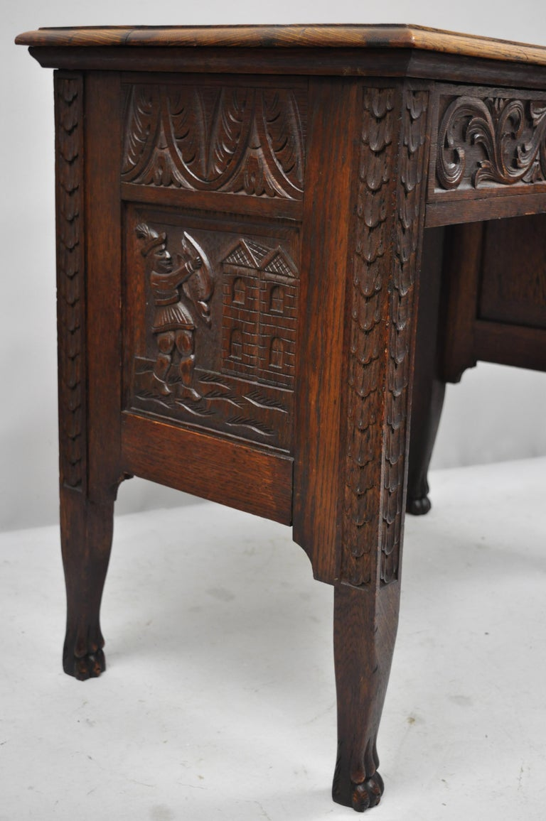 Black Forest Carved Oak Jacobean Mall Writing Desk Table