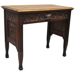 Black Forest Carved Oak Jacobean Mall Writing Desk Table with Northwind Face