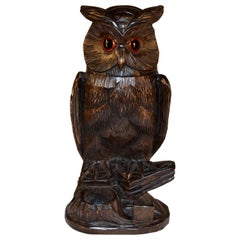 Black Forest Carved Owl Humidor, circa 1900