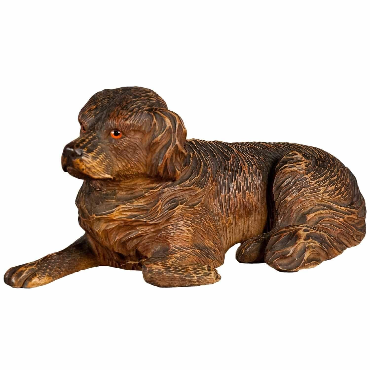 Black Forest Carved Staghound Inkwell