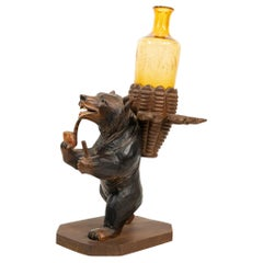 Black Forest Carved Swiss Bear Smoking Stand, circa 1910