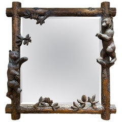 Black Forest Carved Swiss Entry Mirror with Climbing Bears