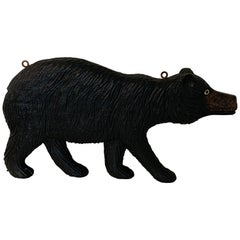 Black Forest Carved Walnut Bear Motif Trade Sign