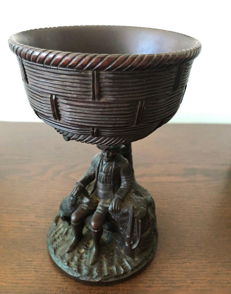 Black Forest Carved Walnut Hunting Presentation Cup For Sale 4