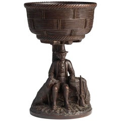 Black Forest Carved Walnut Hunting Presentation Cup