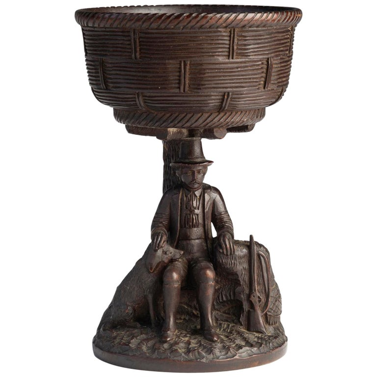 Black Forest Carved Walnut Hunting Presentation Cup For Sale