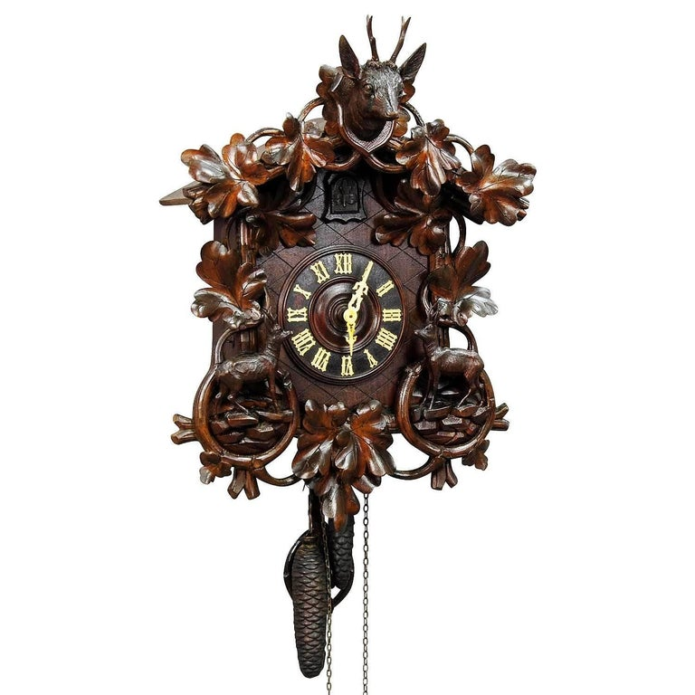 Black Forest Carved Wood Cuckoo Clock with Birds For Sale ...