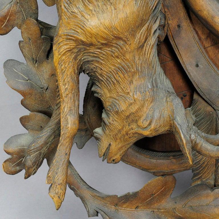 Schwarzwald geschnitzt Holz Kuckucksuhr mit großen Hirschkopf 5