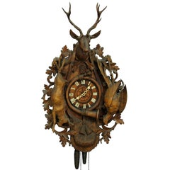 Black Forest Carved Wood Cuckoo Clock with Large Stag Head