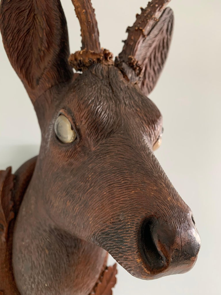 Black Forest Carved Wood Deer Head with Real Antlers, circa 1900 For Sale 4