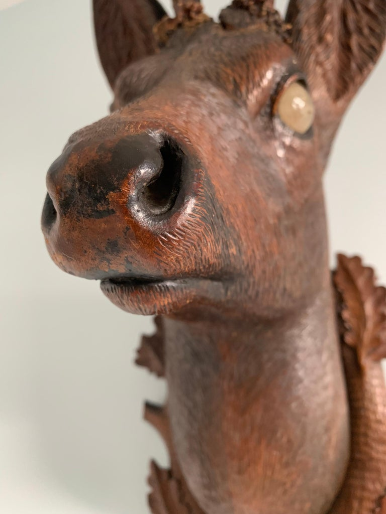 Black Forest Carved Wood Deer Head with Real Antlers, circa 1900 For Sale 7