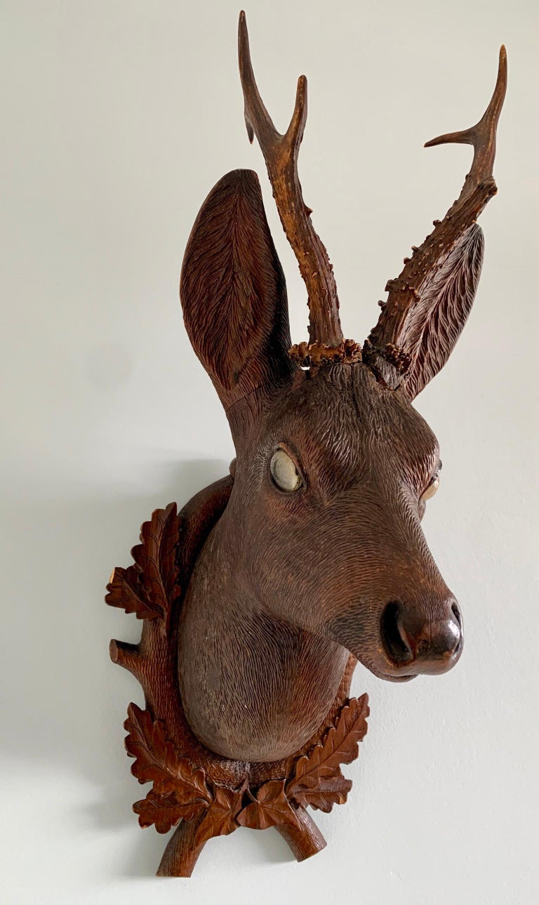 Black Forest Carved Wood Deer Head with Real Antlers, circa 1900 For Sale 9