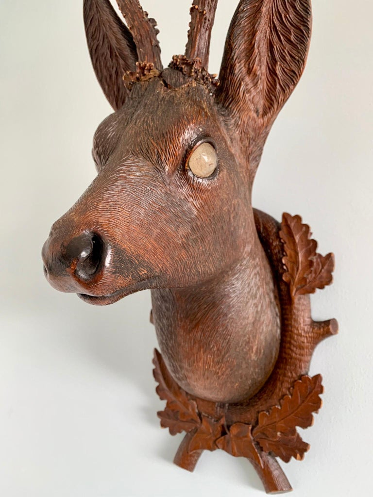 Folk Art Black Forest Carved Wood Deer Head with Real Antlers, circa 1900 For Sale