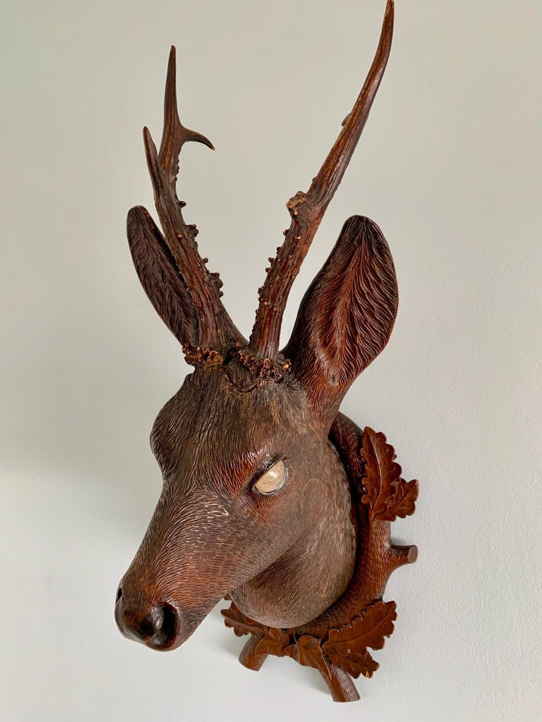 German Black Forest Carved Wood Deer Head with Real Antlers, circa 1900 For Sale