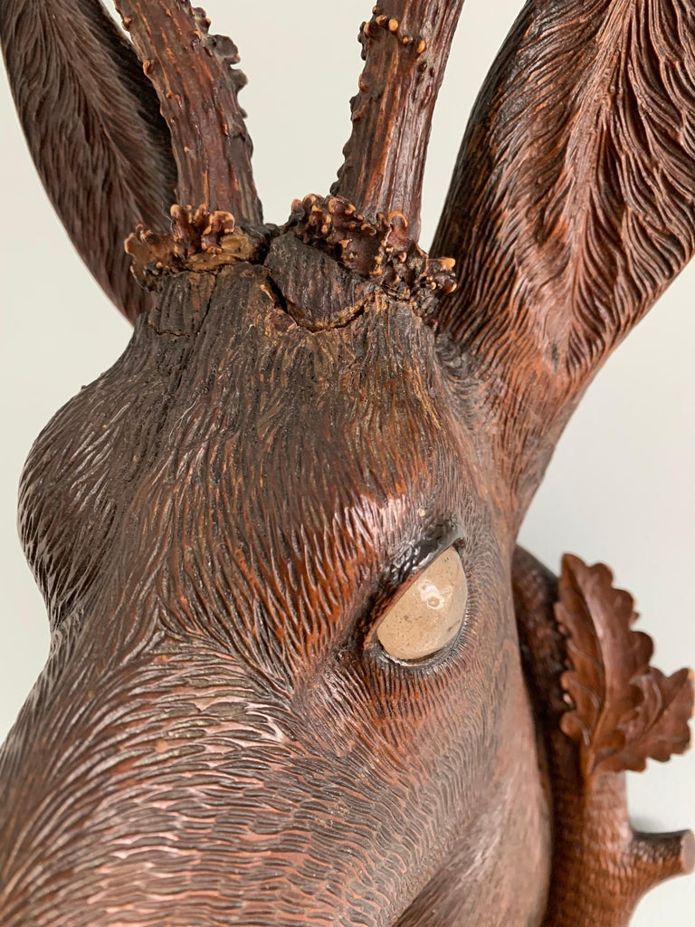 Black Forest Carved Wood Deer Head with Real Antlers, circa 1900 In Fair Condition For Sale In London, GB