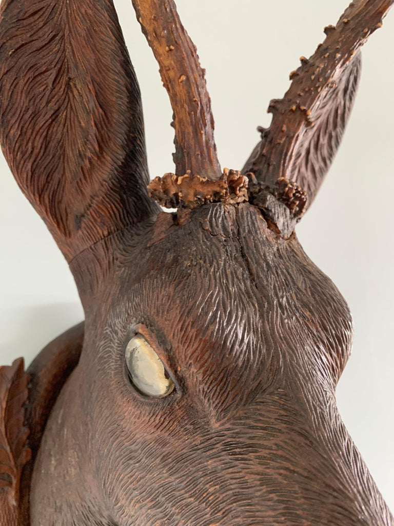 Early 20th Century Black Forest Carved Wood Deer Head with Real Antlers, circa 1900 For Sale
