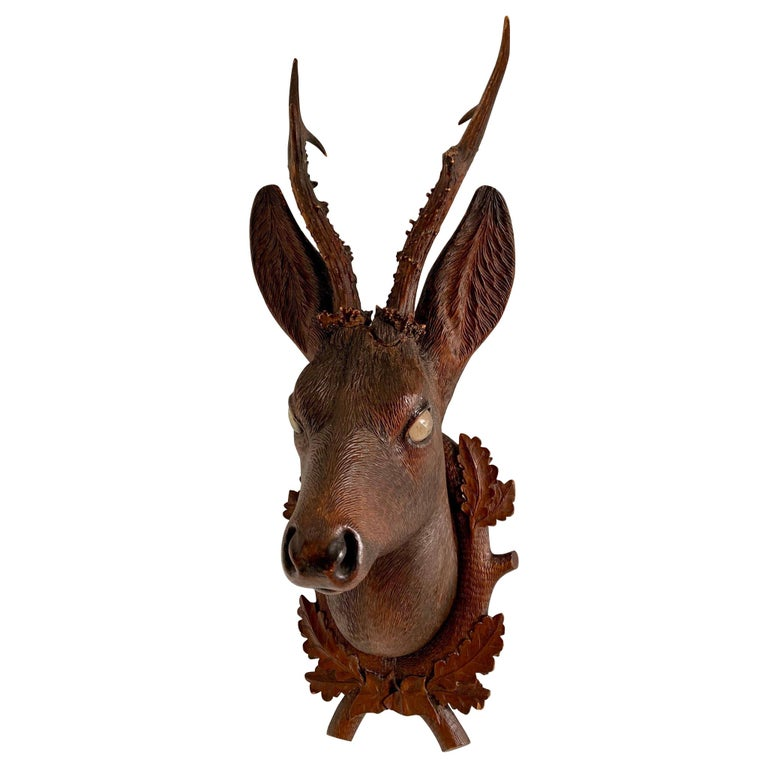 Black Forest Carved Wood Deer Head with Real Antlers, circa 1900 For Sale