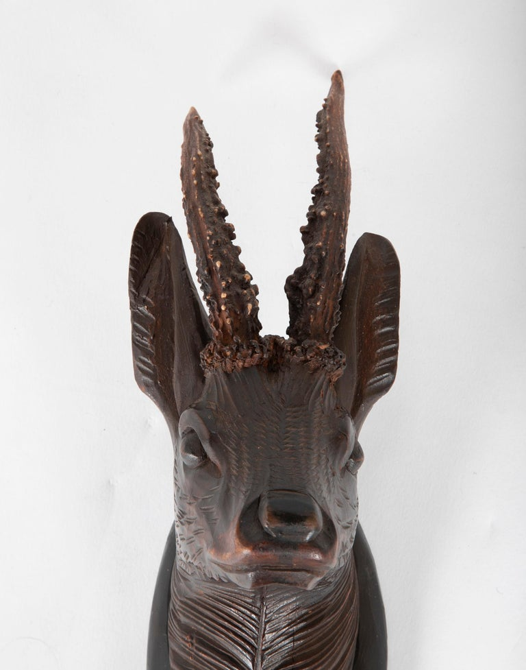 Hand-Carved Black Forest Carved Wood Stag Head Trophy with Antlers For Sale