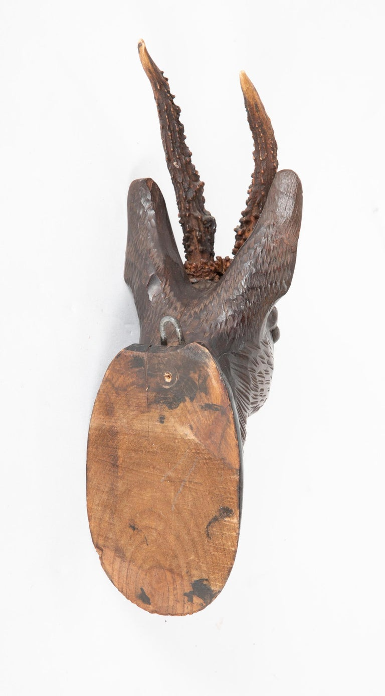 Black Forest Carved Wood Stag Head Trophy with Antlers For Sale 1
