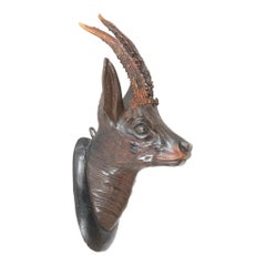 Black Forest Carved Wood Stag Head Trophy with Antlers