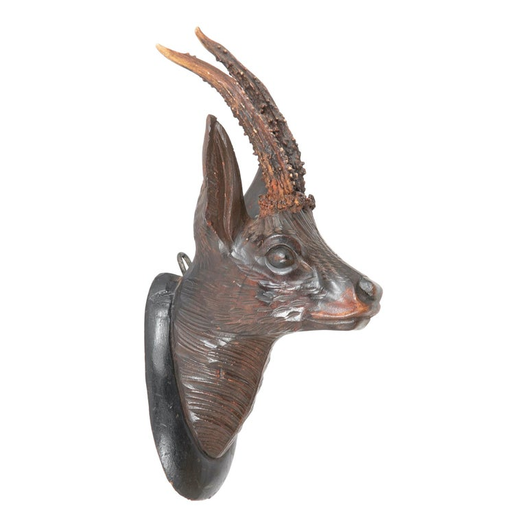 Black Forest Carved Wood Stag Head Trophy with Antlers For Sale