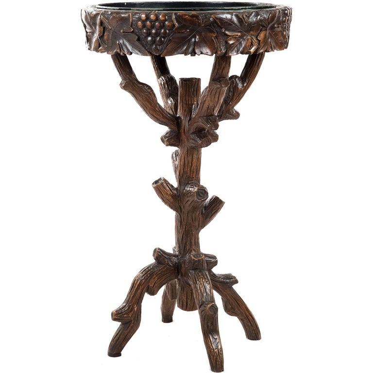 Black Forest Carved Wood Stand with Tray