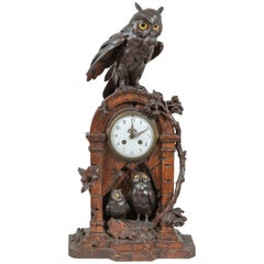 Black Forest Clock with Owl Family