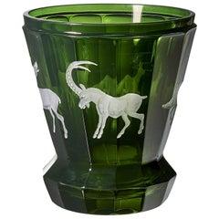 Schwarzwälder Laterne aus grünem Kristallglas mit Jagddekor, Sofina Boutique