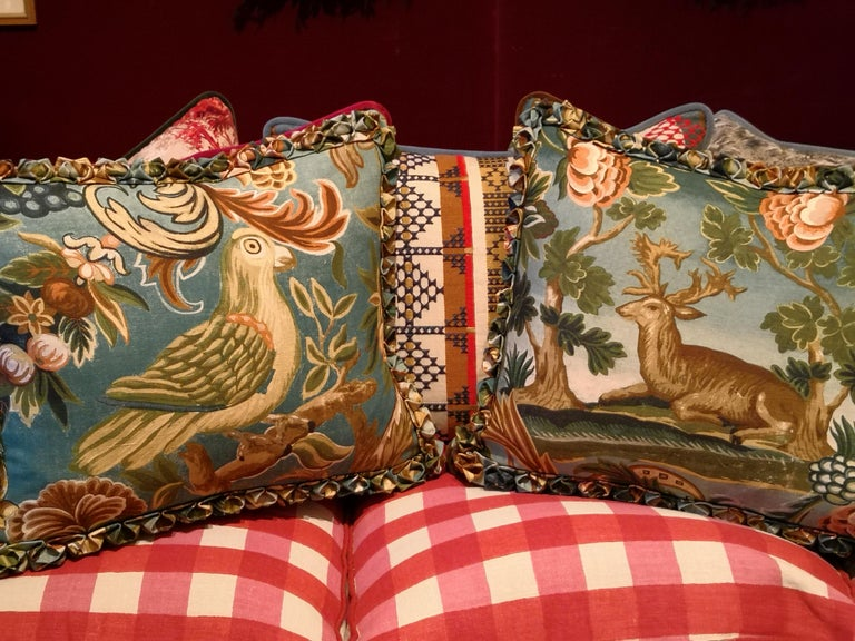 Contemporary Black Forest Handmade Cushion Hunting Scene Sofina Boutique Kitzbuehel For Sale