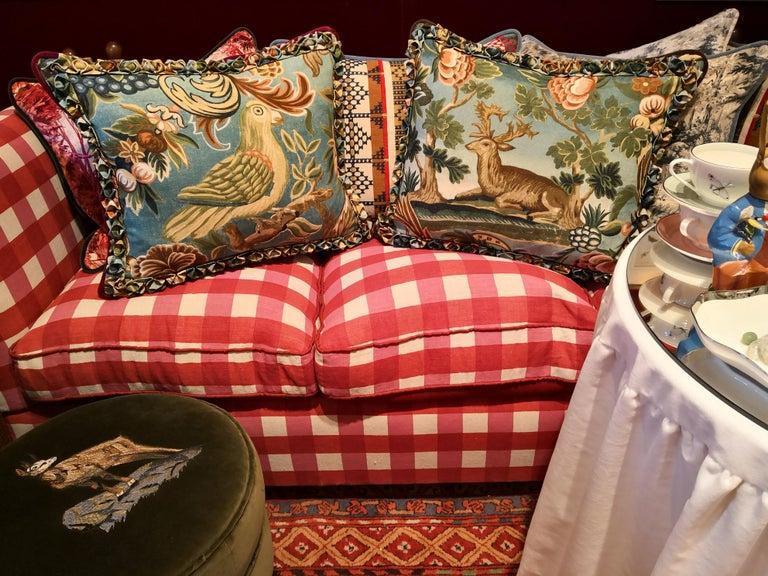Velvet Black Forest Handmade Cushion Hunting Scene Sofina Boutique Kitzbuehel For Sale