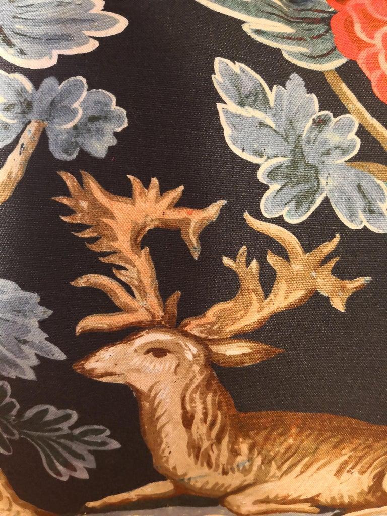 Hand-Crafted Black Forest Cushion Handmade Fringe Hunting Scene Sofina Boutique Kitzbühel For Sale