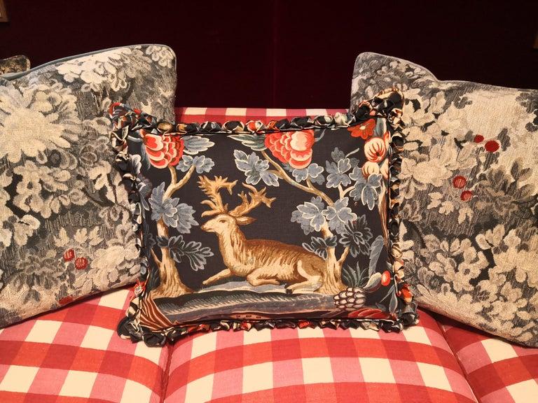 Contemporary Black Forest Cushion Handmade Fringe Hunting Scene Sofina Boutique Kitzbühel For Sale