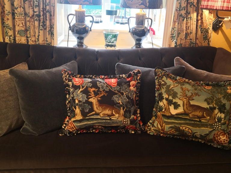 Linen Black Forest Cushion Handmade Fringe Hunting Scene Sofina Boutique Kitzbühel For Sale