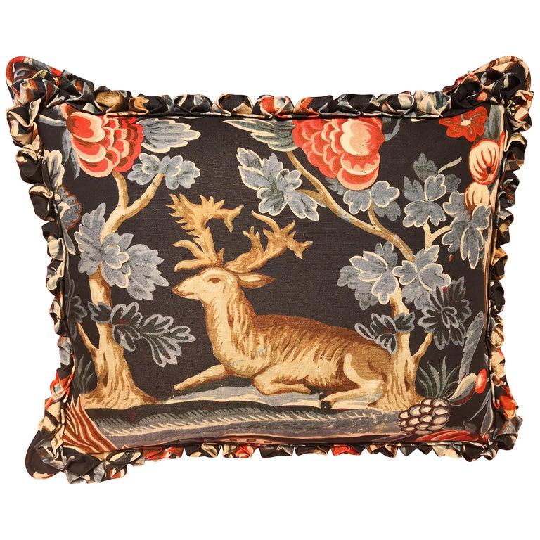 Black Forest Cushion Handmade Fringe Hunting Scene Sofina Boutique Kitzbühel For Sale